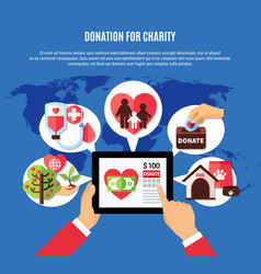 worldwide donation application concept vector image