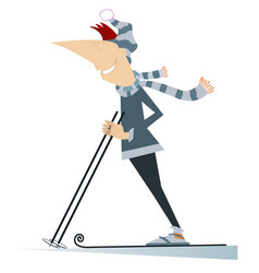 young skier man isolated vector image
