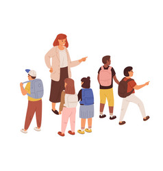 young teacher with diverse children female vector image