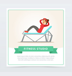 Young woman doing press exercise on a bench vector