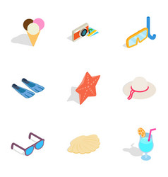 beach elements icons isometric 3d style vector image vector image