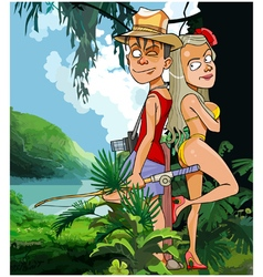 cartoon tourist couple man and woman vector image vector image