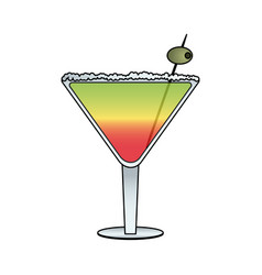 Cocktail in embellished glass icon image vector