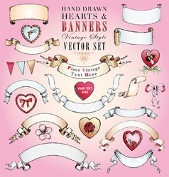 Hand-Drawn Hearts and Banners Set vector image