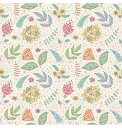 pattern with spring doodle flowers and leaves vector image
