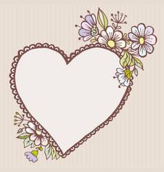 postcards doodle heart with flowers vector image