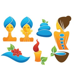 spa and beauty symbols and icons vector image
