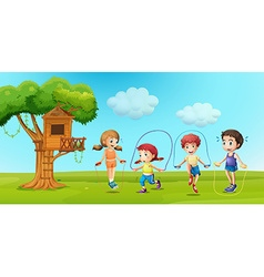 Children skipping rope in the park vector
