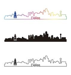 Dallas skyline linear style with rainbow vector image vector image