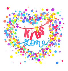 Kids zone flat banner colorful bubbles vector