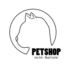 silhouette kitti pet shop sign vector image