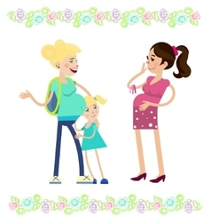 Two pregnant women vector