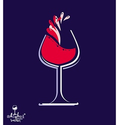 Beautiful wine goblet with splash alcohol theme vector image