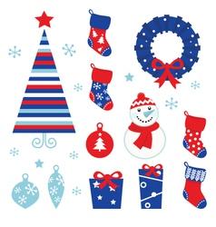christmas cartoon icons vector image vector image