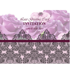 lace card with flowers luxury background vector image vector image