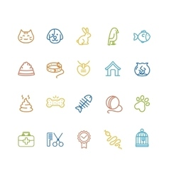 Pet Outline Icon Set vector image