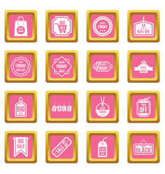 black friday icons pink vector image vector image