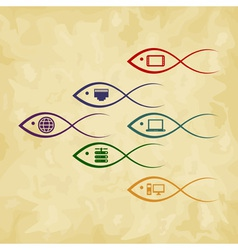 Fish the computer vector image vector image