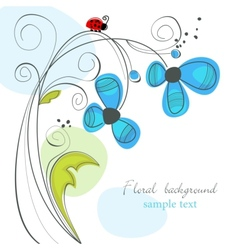 floral and ladybug background vector image vector image