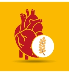 food healthy heart wheat concept design icon vector image