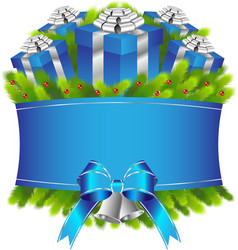 Merry christmas and happy new year blue gifts vector image vector image