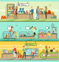 pet shop horizontal banners set people buying vector image