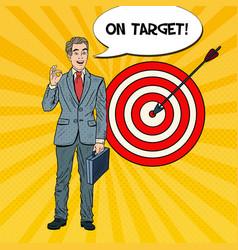 pop art happy businessman achieved the target vector image vector image
