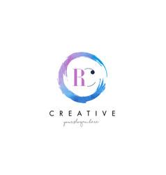 rc letter logo circular purple splash brush vector image