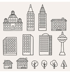 Set of hand drawn houses for town vector image vector image