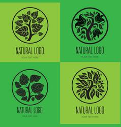 Set TREE logo 001 vector image