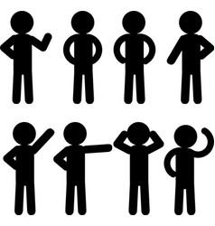 Stick figure icon set vector image