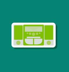 Technology gadget paper sticker music center vector
