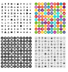 100 business career icons set variant vector image