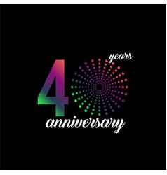 40 year anniversary firework template design vector