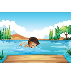 A young man swimming in the river vector