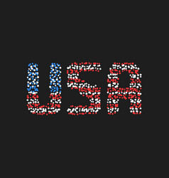 Abstract usa text from colored dots vector