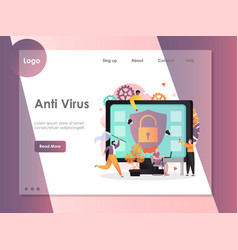 Anti virus website landing page design vector