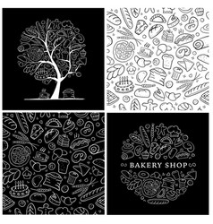 Bakery set logo and pattern for your design vector