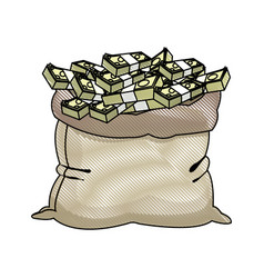 Banking sack full banknote money design vector