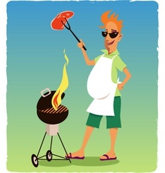 Barbecuing guy vector