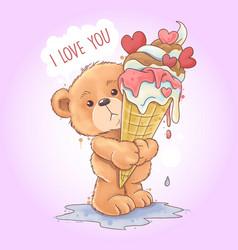 bear tedy holds a melting kone ice cream vector image