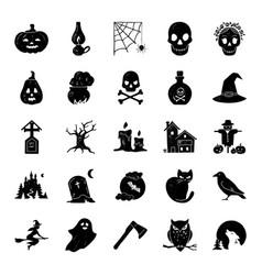 Big halloween set modern simple icons vector