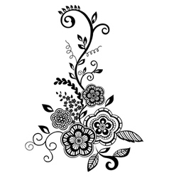 Black-and-white flowers and leaves design element vector image