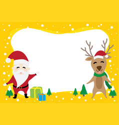 border graphic cartoon about santa claus and reind vector image