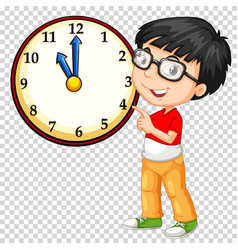 Boy looking at clock on transparent background vector