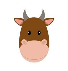 Brown cow icon cute animal design graphic vector
