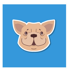 Canine smiling face of french bulldog drawn icon vector