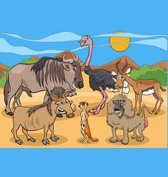 Cartoon african wild animal characters group vector