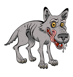 cartoon image of hungry wolf vector image