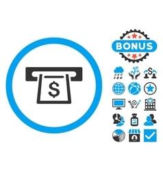 Cashout Slot Flat Icon with Bonus vector